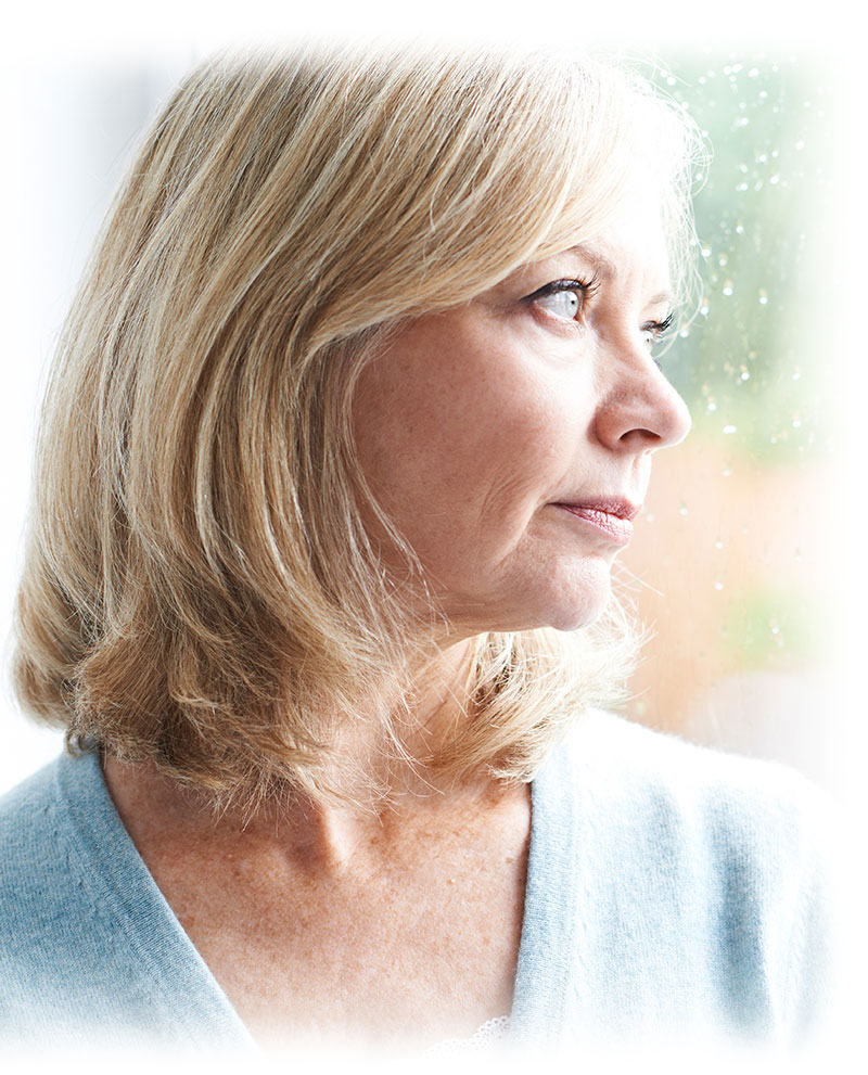 dental implant patient staring out window