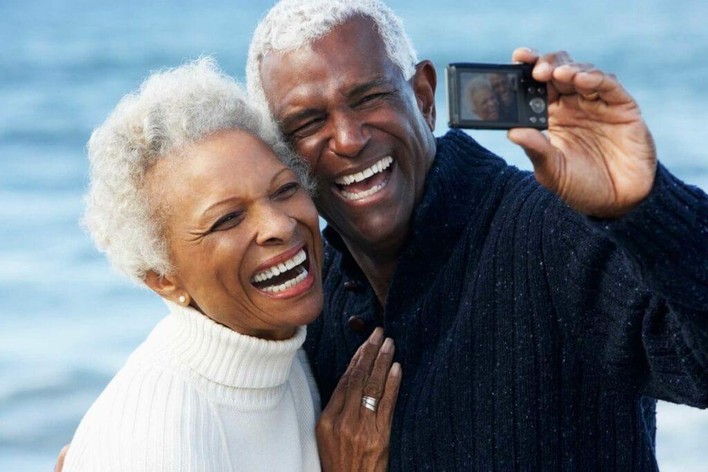happy tmj patients taking selfie together